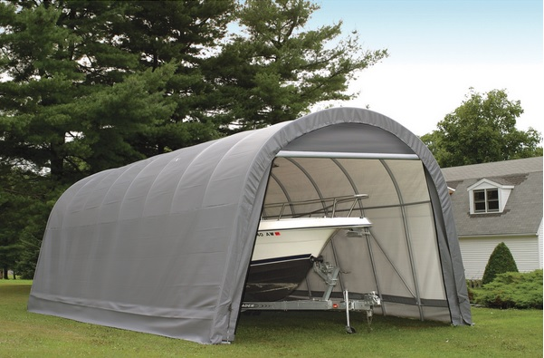 ShelterLogic 15x24x12 Round Style Shelter Kit Grey 95360-Perfect storage for large vehicles.