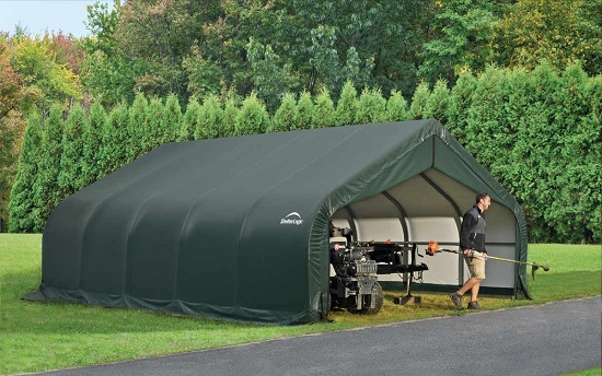 ShelterLogic 18x20x11 Peak Style Instant Garage Kit Green 80017 - Perfect for outdoor use.
