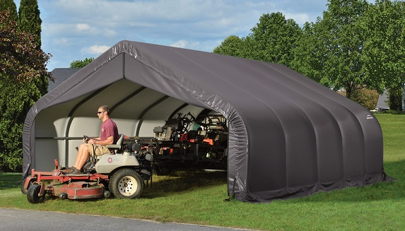 ShelterLogic 18x20x9 Peak Style Instant Garage Kit - Gray (80043) Perfect storage for your lawn equipments.