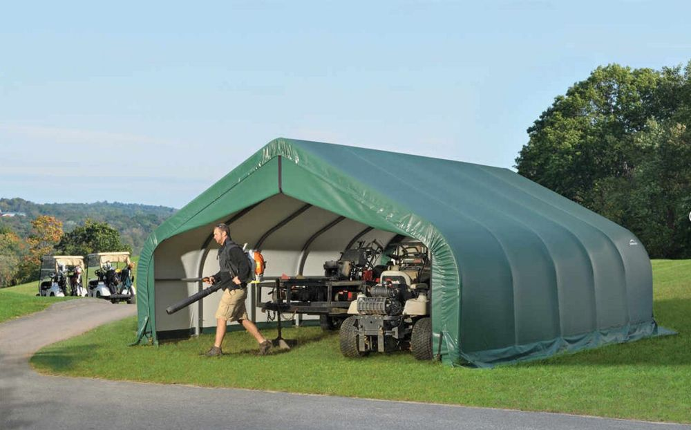 ShelterLogic 18x20x9 Peak Style Garage Kit - Green (80044) Perfect storage for your lawn equipments.
