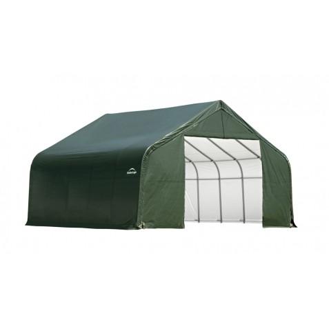 ShelterLogic 22x28x11 Peak Style Double Wide Garage Kit Green 78741 - Perfect for large vehicles.