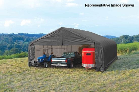 ShelterLogic 28x20x20 Peak Style Instant Garage Kit Grey 86062 - Perfect for large vehicles.