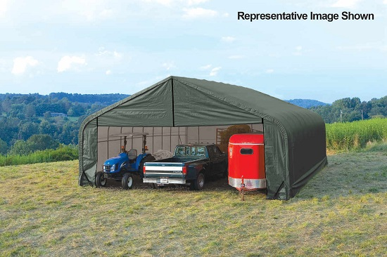 ShelterLogic 28x24x16 Peak Style Instant Garage Kit Green 86048 - Perfect for large vehicles.