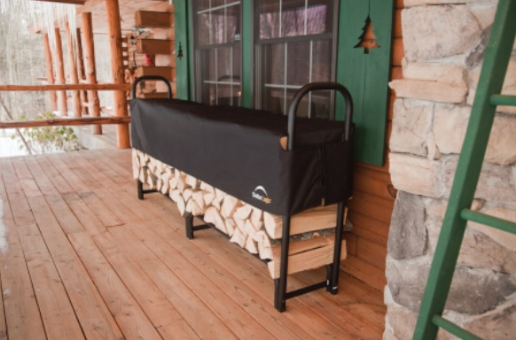 ShelterLogic 8ft Heavy Duty Firewood Rack w/ Cover Black 90402-Perfect for storing firewood