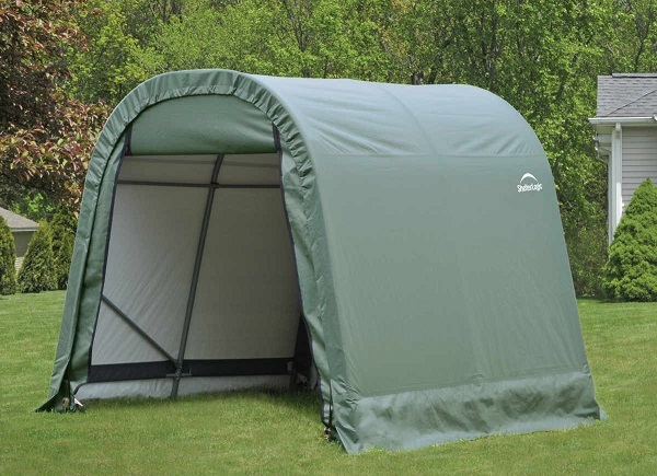 ShelterLogic 8x8x8 Round Style Shelter Kit - Green (76804) Assembled in the backyard.