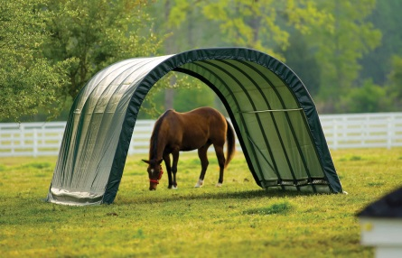 This ShelterLogic 12x20x10 Round Style Shelter Kit 51351 will deliver easy shade and protection for horses.