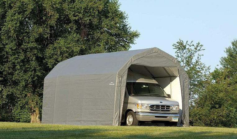 This ShelterLogic 12x24x9 Barn Shelter Kit - Grey model 97153 is perfect storage for your vehicle.