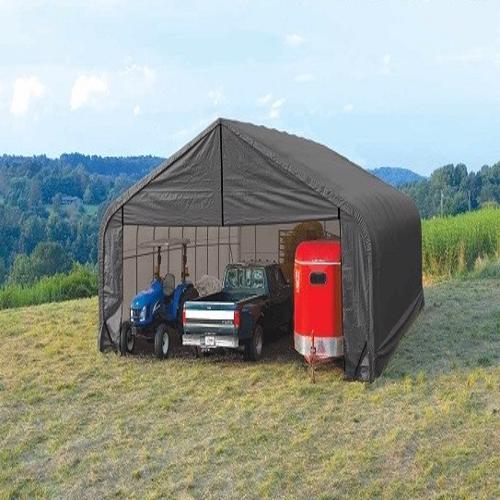 Shelter Logic 28x24x20 Peak Style Shelter Kit - Grey (86066) Provides protection and storage to your vehicles.