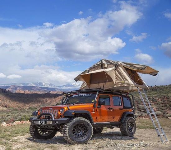 Smittybilt Overlander XL Jeep Roof Top Tent w/ Foam Mattress & 12V Socket - Tan (model 2883) - Great jeep roof top camping tent