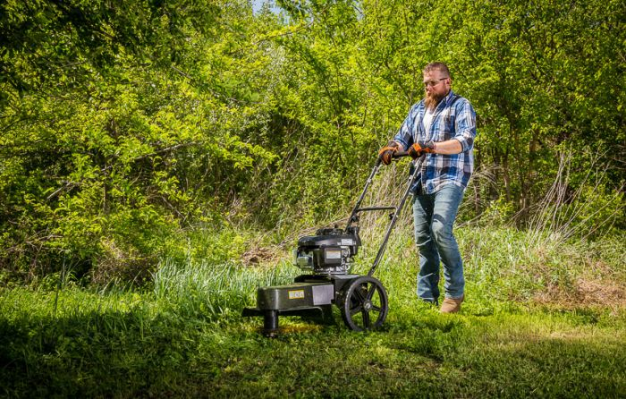 """Swisher Easy Glide 22"""" 4.4 HP Honda Self Propelled String Trimmer (STP4422HO) Perfect for removing thick grass and weeds."""