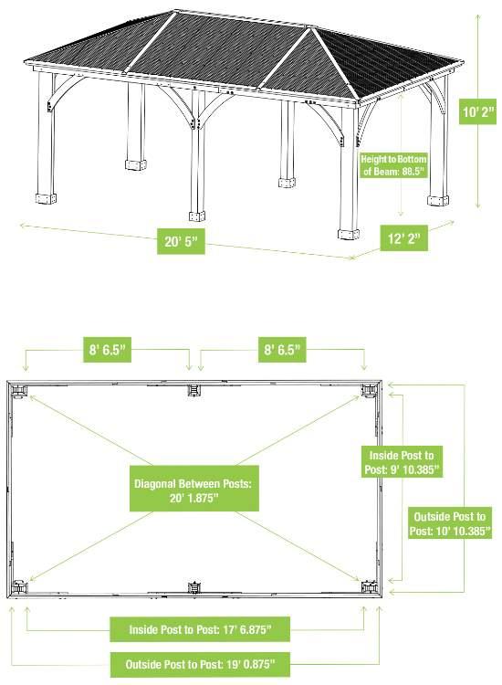 Yardistry 12x20 Meridian Gazebo Kit (YM11775) Gazebo and Roof Dimensions