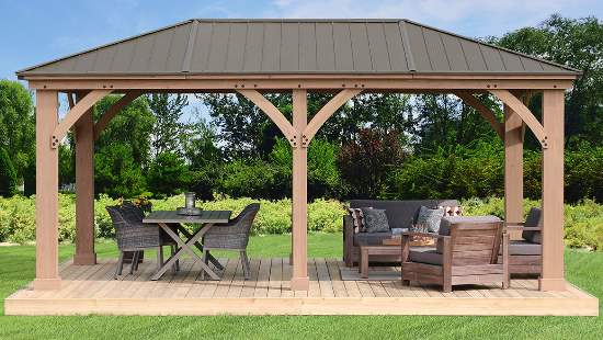Yardistry 12x20 Meridian Gazebo Kit (YM11775) This gazebo will add a touch of elegance to your backyard setting.